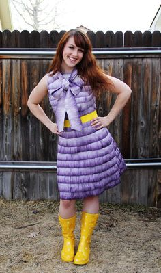 """""""Trashion Fashion"""" - dress made of dyed toilet paper. I feel an ABC party coming soon."""