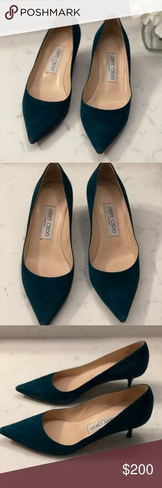 Jimmy Choo heels Jimmy Choo Heels excellent condition. Suade green like turquoise (authentic) Jimmy Choo Shoes Heels