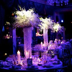 Pillar centerpieces of cascading crystals were the perfect luxe touch to this Pierre Hotel ballroom wedding in New York City. Photo: Courtesy of Michael Russo Events