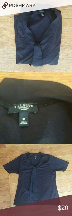 TALBOTS BLACK SIZE M BOW BLACK T SHIRT TALBOTS SIZE M SILKY FEEL  BLACK T SHIRT FOR WORK EUC Talbots Tops Blouses