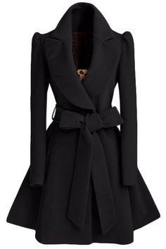 Vestido Escudo Noble da vuelta-abajo de manga larga color puro Auto Lazo de cinta para la Mujer