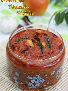 andhra tomato pickle recipe with step by step photos. we call this as nilava tomato pachadi, not a traditional one but a quick recipe to makes yummy pickle Veg Recipes, Canning Recipes, Indian Food Recipes, Vegetarian Recipes, Indian Foods, Tomato Pickle Recipe, Indian Pickle Recipe, Gourmet, Healthy Breakfasts