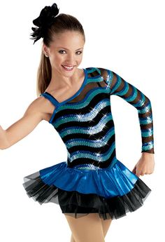 One Sleeve Wave Sequin Dress -Weissman Costumes