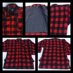 Swanndri  New Zealand Bush Jacket Buffalo Plaid Red Black Pure Wool Size XL #Swanndri #BushJacket