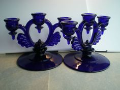 New Martinsville Glass Patterns | New Martinsville Glass Elegant Blue Candleholders from ...