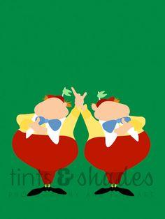 Items similar to Tweedledee and Tweedledum Minimalist Poster on Etsy Alice In Wonderland Silhouette, Alice In Wonderland Paintings, Alice In Wonderland Doll, Disney Minimalist, Minimalist Poster, Minimalist Art, Disney Silhouettes, Disney Paintings, Adventures In Wonderland