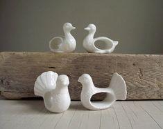 Porcelain Bird Napkin Rings  Set of 4 Vintage White Napkin