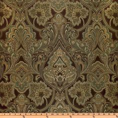 Eroica Hollyhock Damask Jacquard Cocoa from @fabricdotcom  This medium weight woven jacquard fabric is very versatile and perfect for window treatments (draperies, curtains, valances, swags), duvet covers, pillow shams, toss pillows, slipcovers and upholstery. Colors include mocha, teal and tan on a brown background.