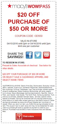 562c78805 37 Best Macy s Coupon Codes   Printable Coupons images