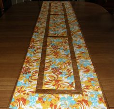 Yellow Aqua and Orange Quilted Table Runner by HollysHutch on Etsy