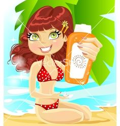 Girl in red swimsuit with cream for sunburn vector - by yadviga on VectorStock®