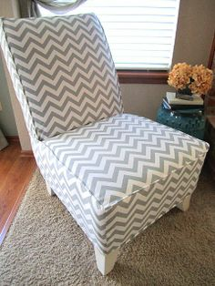 DIY project...chevron chair- upholstered