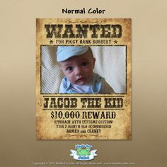 Personalized Baby Western Wanted Poster with by Madeforjake, $16.00