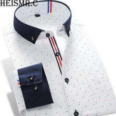 New 2016 Men's Shirts Long-Sleeve Brand Dress Shirt Hit Color stitching Embroidery Casual Dress Shirt For Men Mens Kurta Designs, Mens Designer Shirts, Designer Suits For Men, Long Sleeve Shirt Dress, Long Sleeve Shirts, Dress Shirts, Dress Long, Best Casual Shirts, Smart Attire
