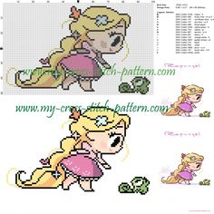 Chibi Tangled cross stitch pattern