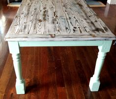 Painted Tables painted farmhouse table with turned legs in turquoise | cuisine
