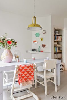 Create a fun bright scandi inspired interior by adding pops of bright colours in accessories and wall decoration. Keep the walls white to create a strong contrast. Great for kitchens and dining rooms.
