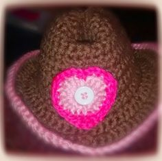 Cute crochet hats for kids and adults: Cowgirl Hat with Heart
