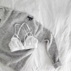knit sweater + lace bralette #topshop