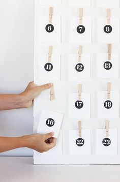 good deeds calendar (or could be similar to other, where something is written on the reverse) -- Countdown to Christmas: DIY Advent Calendars for the Modern Home