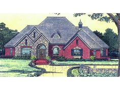 The Denise European Ranch Home has 4 bedrooms, 3 full baths and 1 half bath. See amenities for Plan 036D-0181.