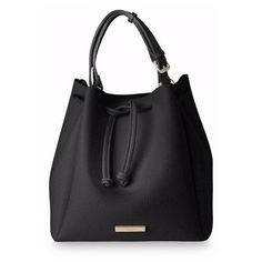Chloe Bucket Bag Black (€55) ❤ liked on Polyvore featuring bags, handbags, shoulder bags, drawstring purse, vegan leather handbags, drawstring handbags, faux-leather handbags and faux leather purses