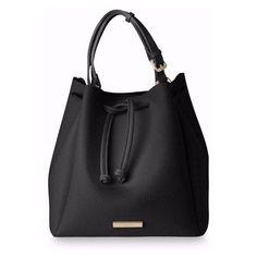 Black Chloe Bucket Bag (260 RON) ❤ liked on Polyvore featuring bags, handbags, shoulder bags, bolsas, purses, drawstring bucket bags, handbag purse, shoulder handbags, drawstring shoulder bag and drawstring purse