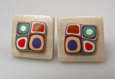 handmade polymer clay stud earrings by blueglimmer