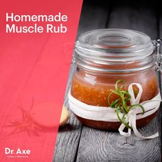 Homemade Muscle Rub - Dr.Axe     1/2 cup coconut oil     1/4 cup grated beeswax     2 teaspoon cayenne powder     2 teaspoon ginger or turmeric powder (Note: While turmeric is an outstanding Anti-inflammatory, be aware that it will cause some temporary skin discoloration)     15 drops peppermint essential oil     15 drops lavender essential oil     glass jar