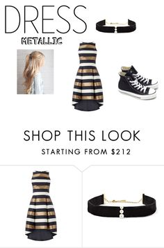 """""""tomboy trying to dress girly for her prom date"""" by maryjsullivan ❤ liked on Polyvore featuring Anissa Kermiche and Converse"""
