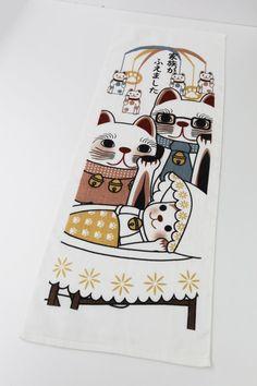 Japanese towel baby shower gif Maneki-neko by japanmomijidesigns