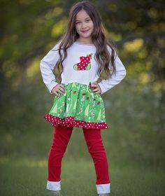 CHRISTMAS STOCKING DRESS & LEGGING SET