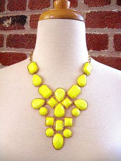 SALE Ships Today - USA - Yellow Statement Necklace - Big Bold - Contemporary  Fashion. $31.00, via Etsy.