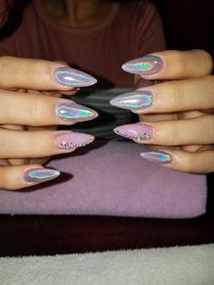 18 Trendy Ideas For Nails Acrilico Unicornio Gelish Nails, Matte Nails, Stiletto Nails, Nail Manicure, Acrylic Nails, Glam Nails, Cute Nail Designs, Acrylic Nail Designs, Nail Shapes Square