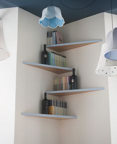 Building some DIY corner shelves might be a great idea for your next weekend project. Corner shelves are a smart solution for your small space. If you want to have shelves but you don't want to be too much on . Wooden Living Room, Shelf Design, Diy Corner Shelf, Wooden Living Room Furniture, Shelves, Interior, Wood Shelves Living Room, Rustic Living Room Furniture, Decorating Shelves