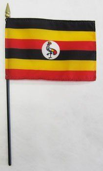 """Uganda - 4"""" x 6"""" World Stick Flag by flagline. $2.50. Mounted on 10 inch staff with gilded spear point. 4"""" x 6"""" Stick Flag. Our 4"""" x 6"""" Uganda stick flags are made from a high quality, silk-like polyester fabric. They feature a hemmed flag mounted on a black plastic 10 inch staff with a gilded spear point. These versatile stick flags can be used on tabletops and desks, to wave in parades, or to decorate flower arrangements.. Save 37%!"""