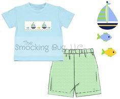 Boys Lt. Blue Smocked Sailboats Shirt & Lt. Lime Seersucker Shorts