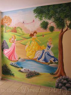 Ζωγραφική κοριτσίστικου παιδικού δωματίου με τις Πριγκίπισσες_Dream-Art
