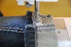 Hemming jeans to retain original factory hem.