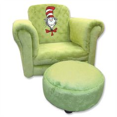 Trend Lab at Kohl's - This Dr. Seuss chair and ottoman set features The Cat in the Hat embroidery and a velour construction. Chair And Ottoman Set, Cozy Chair, Refurbished Chairs, Umbrella Chair, Gothic Chair, Dr Seuss Nursery, Toddler Chair, Ghost Chairs, High Back Chairs