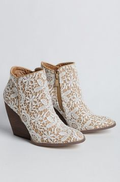 Lovely Clusters Boutique: Tallulah Lace Demi Wedge Booties