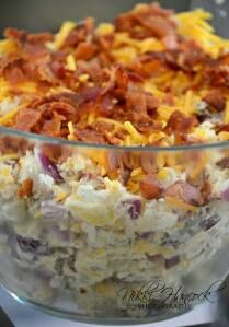Fully Loaded Baked Potato Salad  8 medium Russet Potatoes 1 cup sour cream 1/2 cup mayonnaise 1 package of bacon, cooked and crumbled 1 small onion, chopped 1 1/2 cups shredded cheddar cheese Salt and Pepper to taste