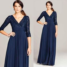 Grandmother Of The Bride Dress 2016 Navy Blue Lace Mother Of Bride Dresses Plus Size Chiffon Sequins 3/4 Long Sleeves Wedding Guest Gowns Cheap Women Special Occasion Groom Mother Dress From Nameilishawedding, $94.25| Dhgate.Com