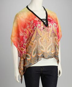 Take a look at this Yellow Paisley Sheer Plus-Size Poncho by Lily on #zulily today!