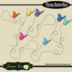 Great new set of clipart butterflies. Bright new colors and cute flying trails for each butterfly. Comes with a pack of seven butterflies in orange, purple, blue, green, yellow, dark blue, and pink. Can be used in variety of ways including clip art for shirts, card miaking, scrapbooking, digital collages and more.