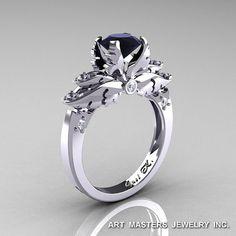 Classique 14K or blanc 1,0 Ct noir et blanc diamant Solitaire bague de fiançailles R482-14KWGDBD