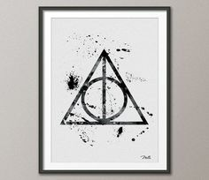 Deathly Hallows from Harry Potter Watercolor Painting Print 8x10 Archival Fine Art Print Wall Decor Art Home Decor Wall Hanging No 9