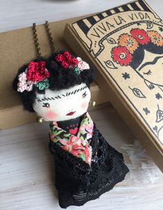 Frida Kahlo ooak doll embroided Haute Couture necklace & brooch (2 in 1)