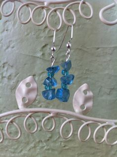 Sky Blue Glass Crystal Earrings Reserved for by ColibriBeads, $6.00