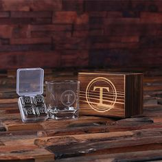Personalized Whiskey Scotch Glass Set, Stainless Steel Ice Cubes with Wood Box